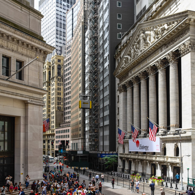 """New York Stock Exchange building in Wall Street in Financial Dis"" stock image"