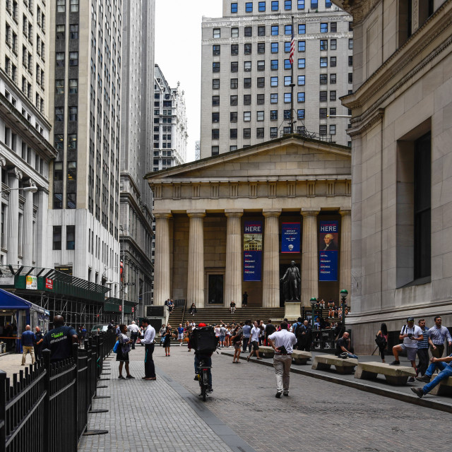 """Federal Hall National Memorial building from Broad Street in New"" stock image"