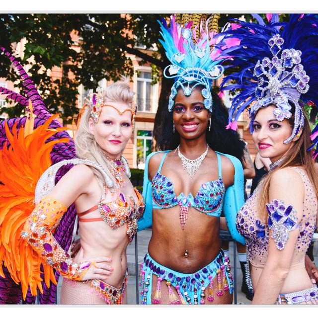 """""""mardi Gras Dancers at Pride London 2018"""" stock image"""