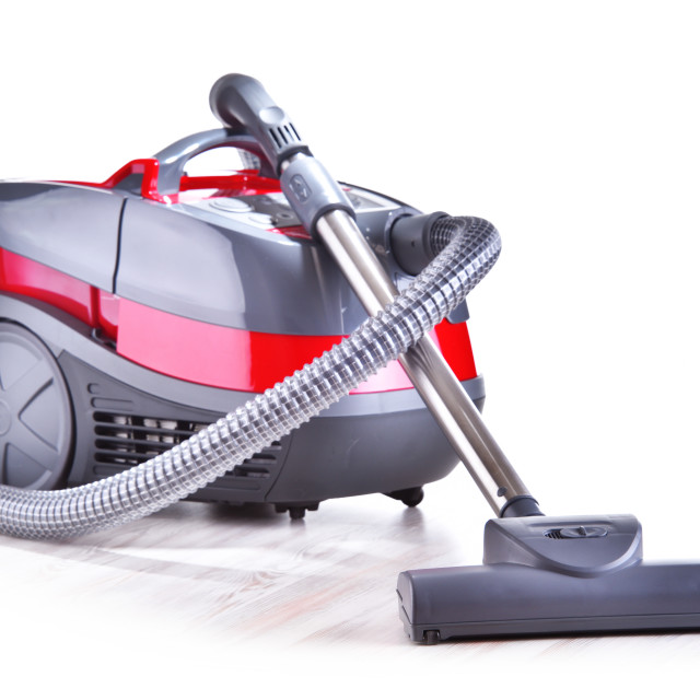 """""""Canister vacuum cleaner for home use isolated on white"""" stock image"""
