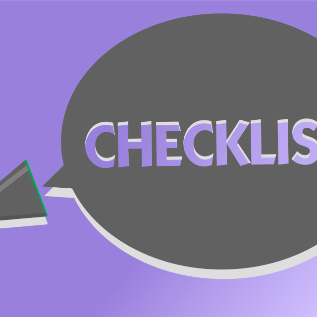 """""""Text sign showing Checklist. Conceptual photo List down of the detailed..."""" stock image"""