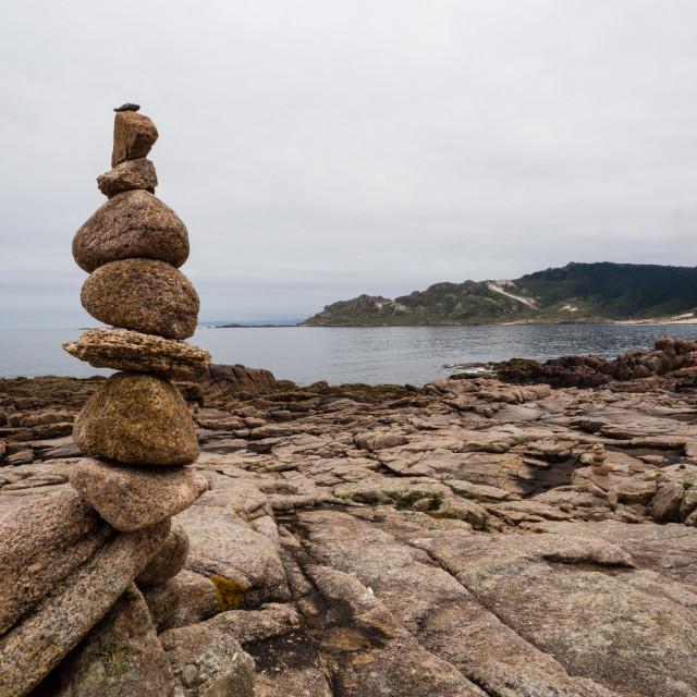 """Balancing Act on the Costa del Morte, Galicia, Spain"" stock image"