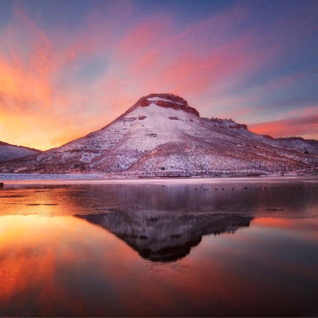 """Flatiron Reservoir, Larimer County, Loveland, Colorado"" stock image"