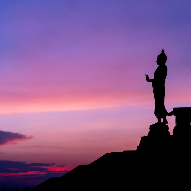 """Silhouette of statue of buddha"" stock image"