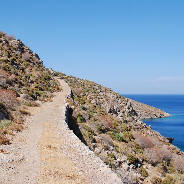 """Path to Lethra, Tilos island"" stock image"