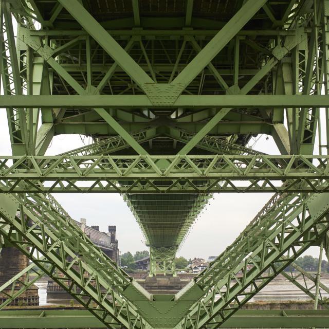 """Underneath bridge at Runcorn"" stock image"