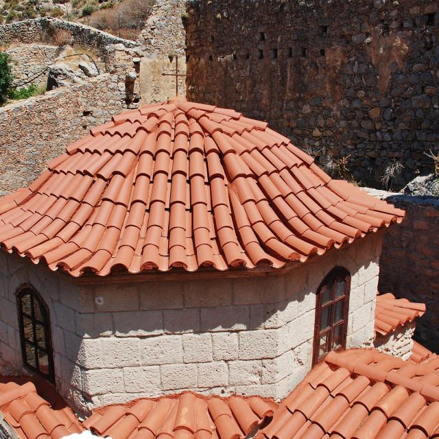 """""""Monastery of Agios Panteleimon, Tilos"""" stock image"""