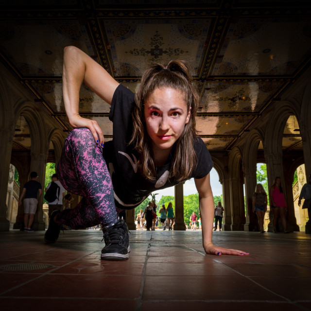 """Young Caucasian Brunette Woman Performs Hip Hop Dance Wearing At"" stock image"