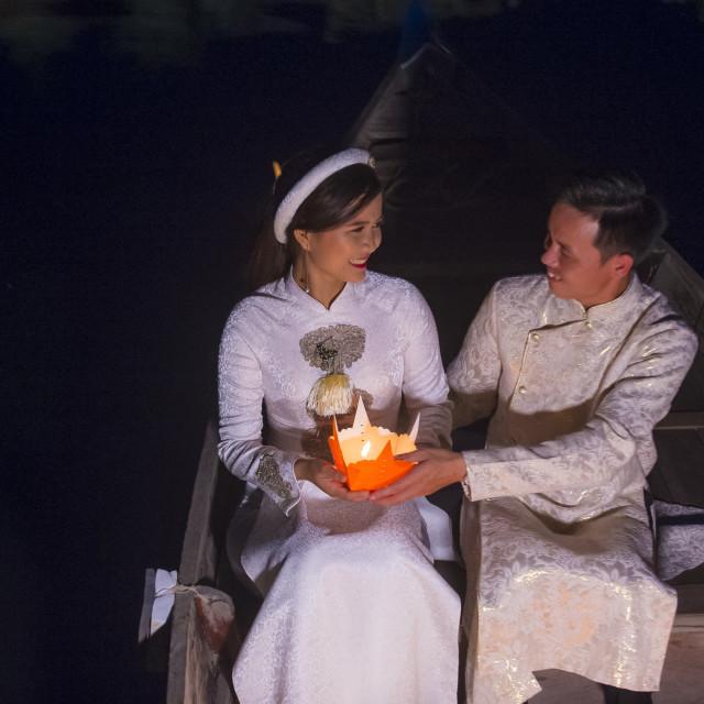"""The Hoi An Full Moon Lantern Festival"" stock image"