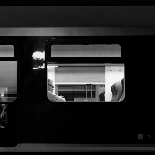 """Passenger waits on the train"" stock image"