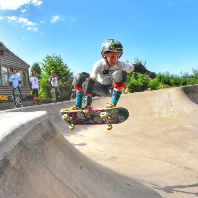 """Skateboarding 9 year old Flynn Waye"" stock image"
