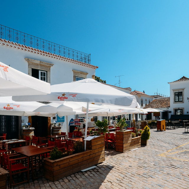 """Restaurant terrace in the historic centre of Faro, Algarve, Portugal."" stock image"