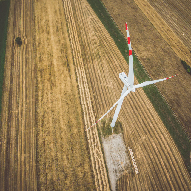 """Aerial view of windmill from above"" stock image"