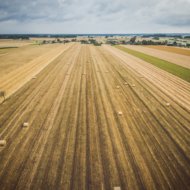 """Aerial view of round hay bales on stubble with a village in the background"" stock image"