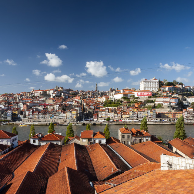 """Porto, Portugal - October 4, 2010: View of the Ribeira Neighborhood and the Douro River in the city of Porto, Portugal"" stock image"
