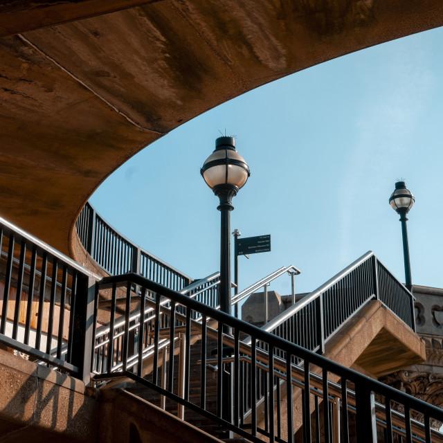 """Public Stairway to access Blackfriars Bridge"" stock image"