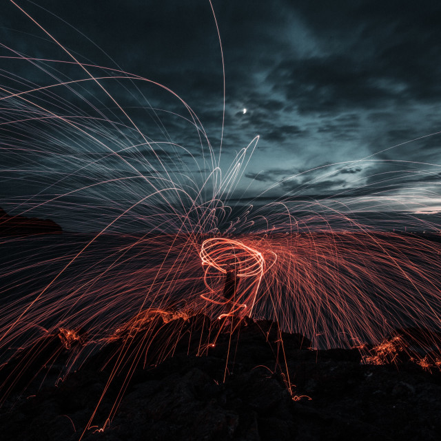 """""""Wire wool spinning!"""" stock image"""