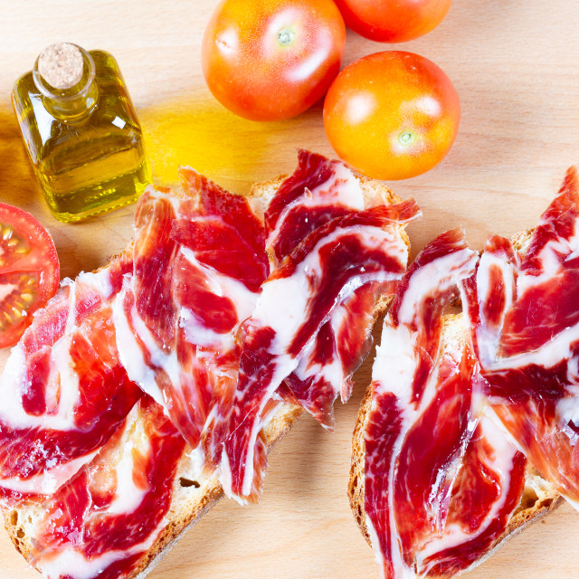 """""""Bread with tomato and ham"""" stock image"""