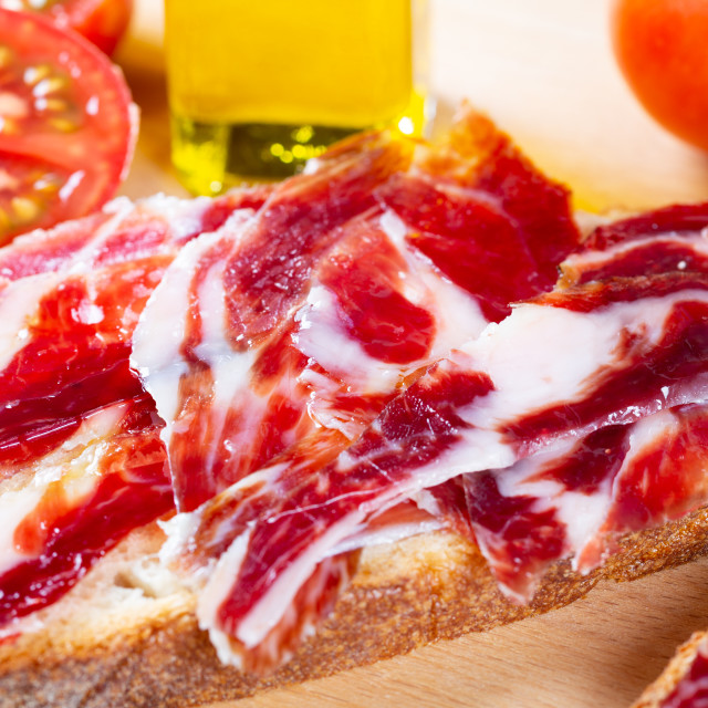 """Bread with tomato and ham"" stock image"