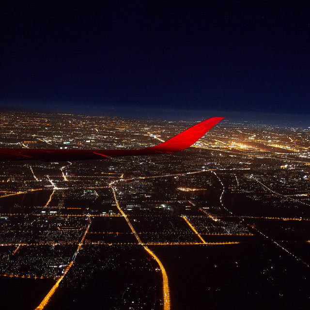 """Airplane view of Shanghai on a clear night"" stock image"