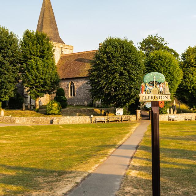 """UK - The Village Green - Alfriston"" stock image"