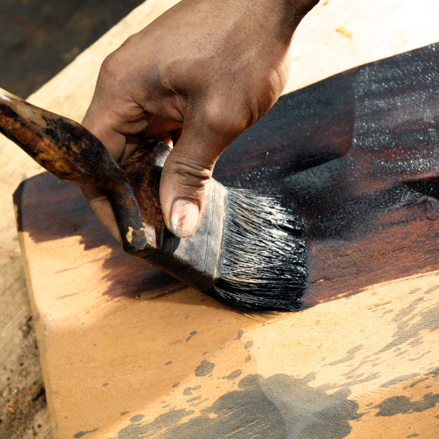 """Hand Painting Wood Slab"" stock image"