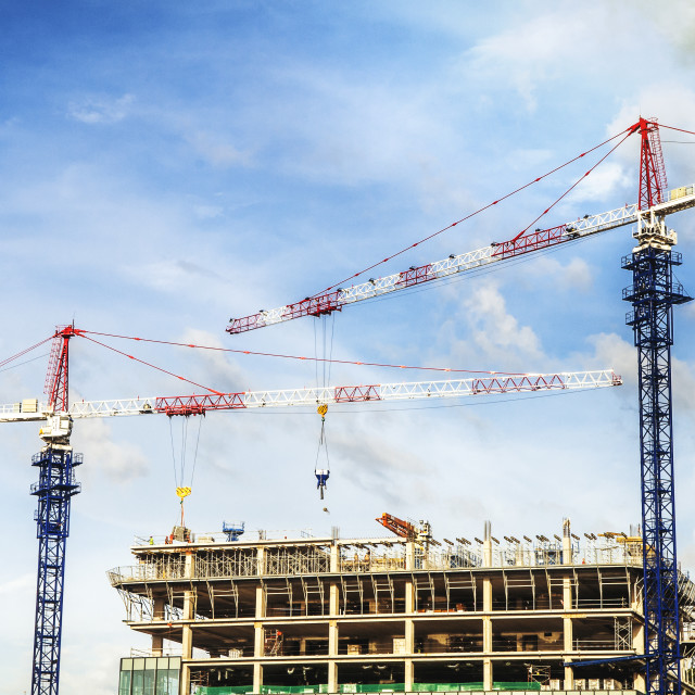 """Building Construction With Cranes"" stock image"