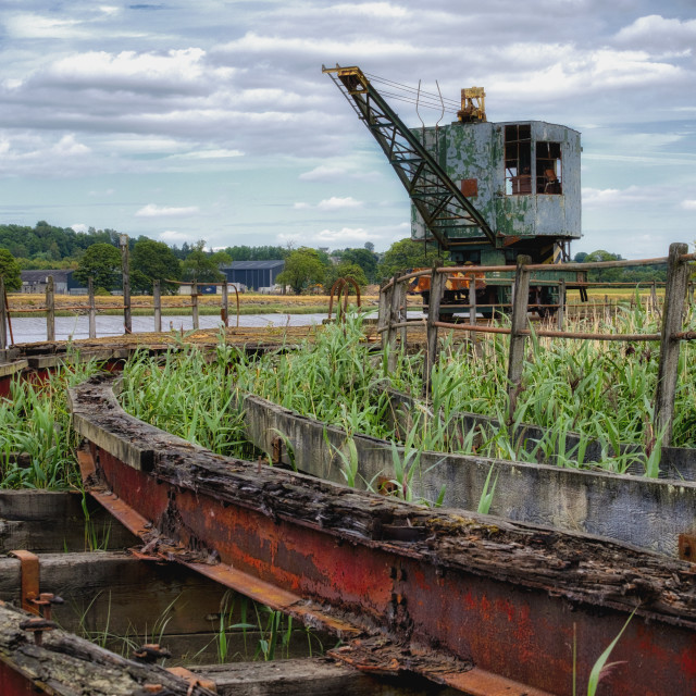 """""""The old crane at Bandeath Munitions Depot"""" stock image"""