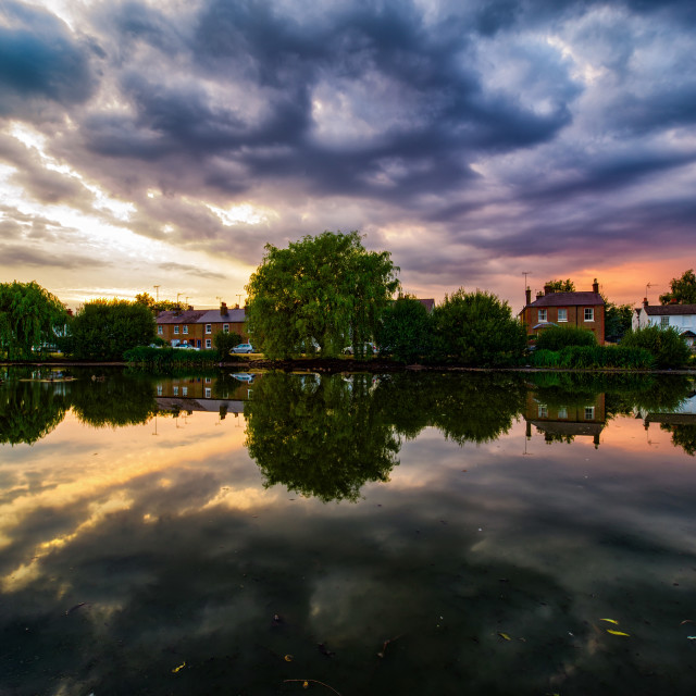 """Pond at Sunset, West End Park, Esher, Surrey, UK"" stock image"