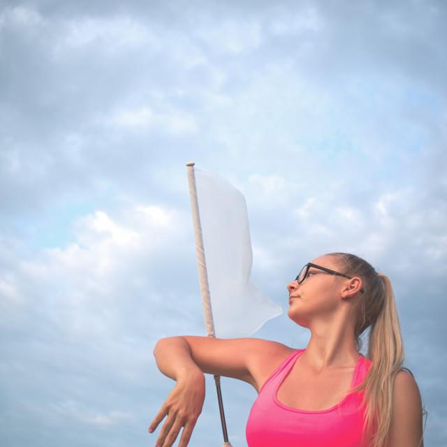 """""""Teen Majorette Girl with White Flag"""" stock image"""