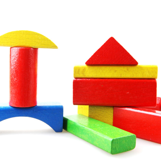 """""""Wooden building blocks isolated on white"""" stock image"""