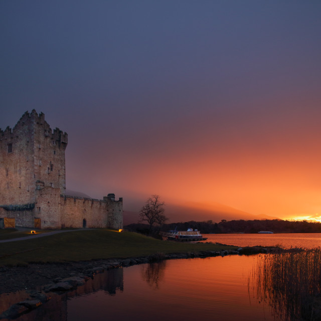 """Sunset Ross Castle & Island Killarney Ireland"" stock image"
