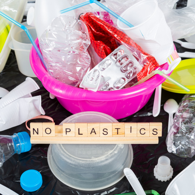 """Plastics for recycling"" stock image"