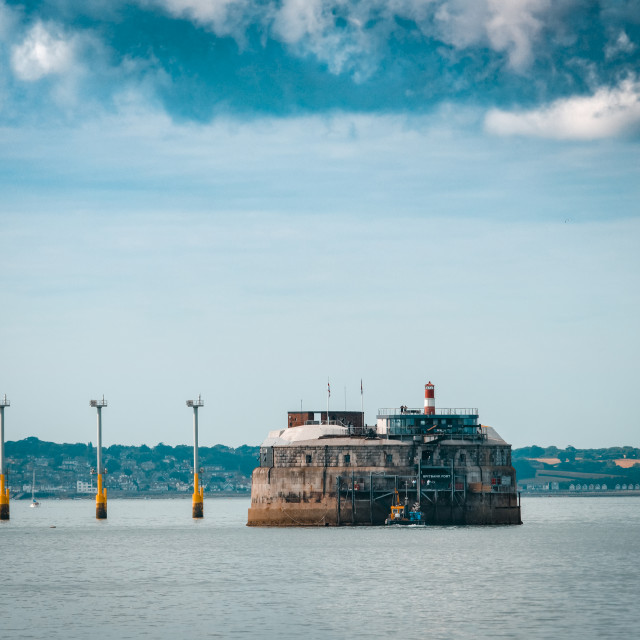 """Spitbank Fort or Spitsand Fort located in the Solent"" stock image"
