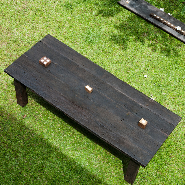 """Wooden Table on Lawn"" stock image"