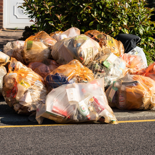 """""""Domestic recycling waste bags"""" stock image"""