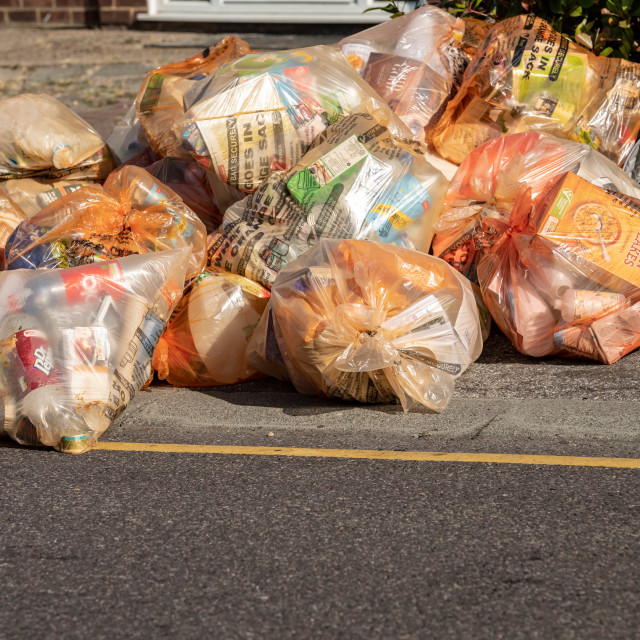 """Domestic recycling waste bags"" stock image"