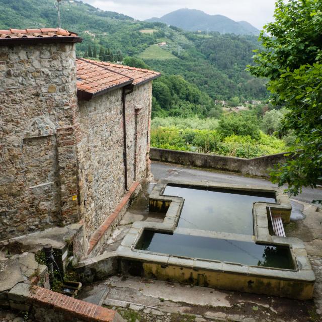 """Village laundry, Castelnuovo Magra, Italy"" stock image"