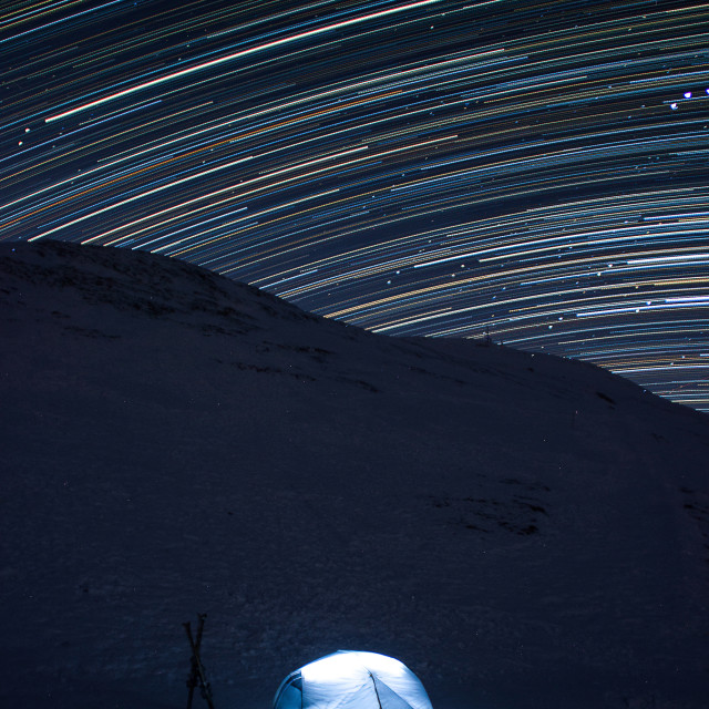 """Camping star trail"" stock image"