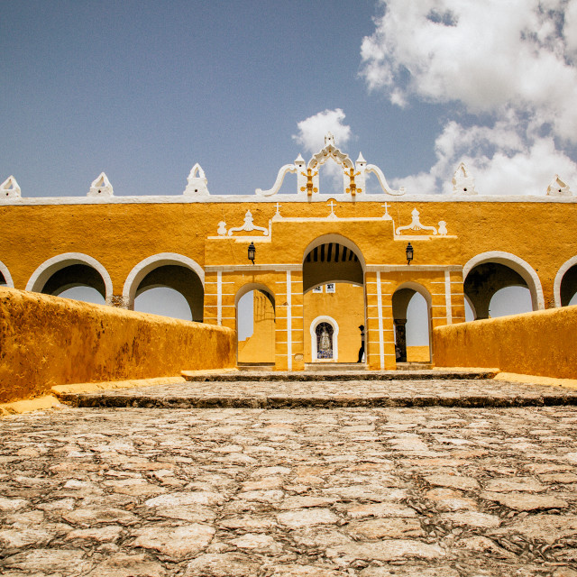 """Entrance to ex convent in Izamal,"" stock image"