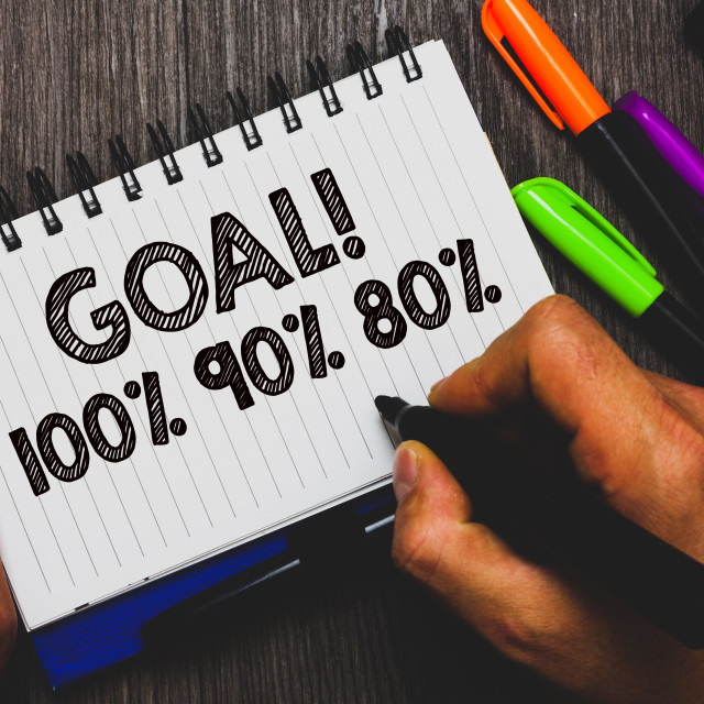 """""""Word writing text Goal 100 90 80. Business concept for Percentage of your..."""" stock image"""