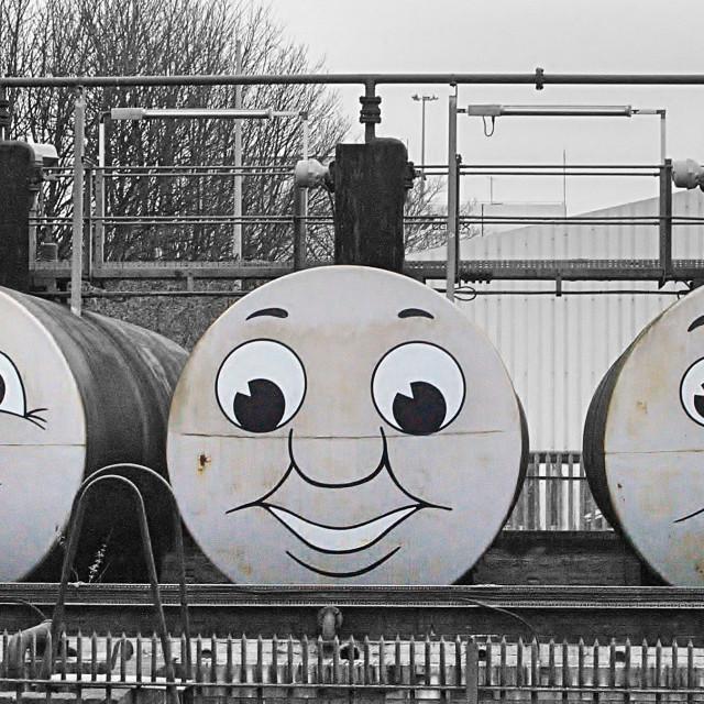 """""""Oil tanks in St Philips Marsh"""" stock image"""