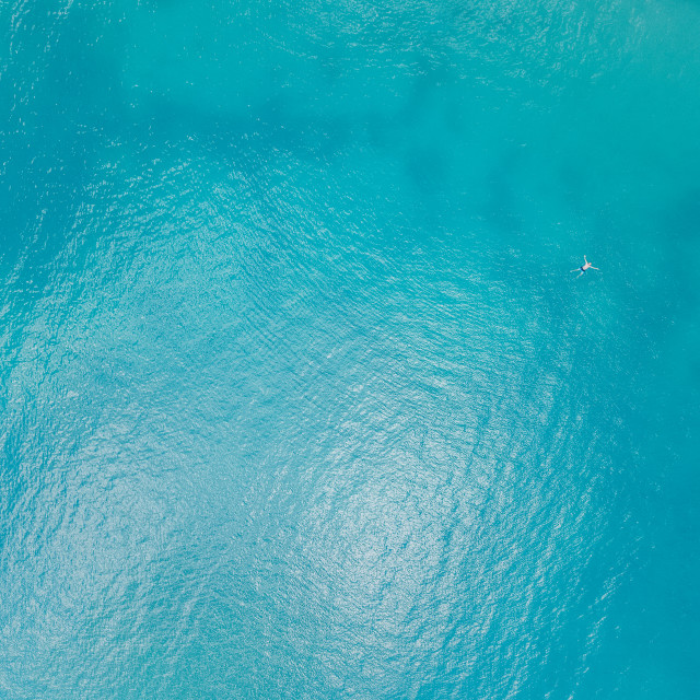 """""""Aerial View Of Man Lost In The Middle Of The Ocean"""" stock image"""