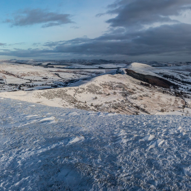 """""""Snow Capped Mam Tor And The Great Ridge Pano"""" stock image"""