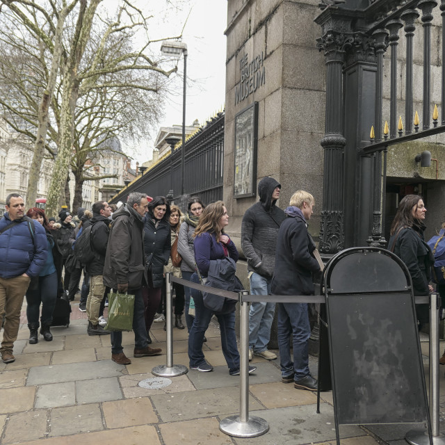 """""""People in line in front of the British Museum"""" stock image"""