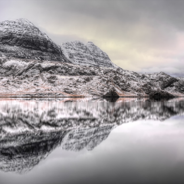 """Suilven Winter Reflections"" stock image"