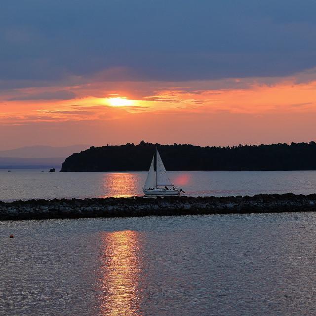 """Sunset at Lake Champlain"" stock image"