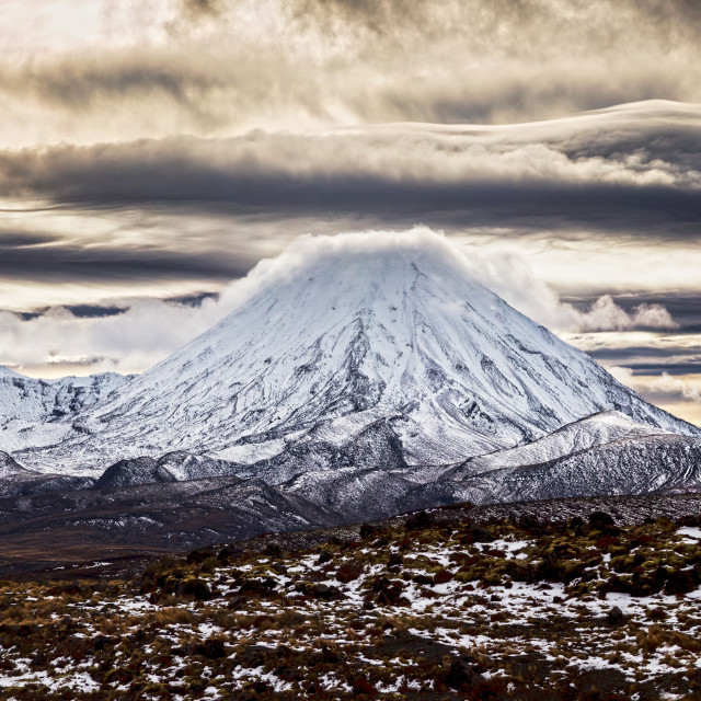 """Mt Ngauruhoe / Mt Ruapehu North Island New Zealand"" stock image"