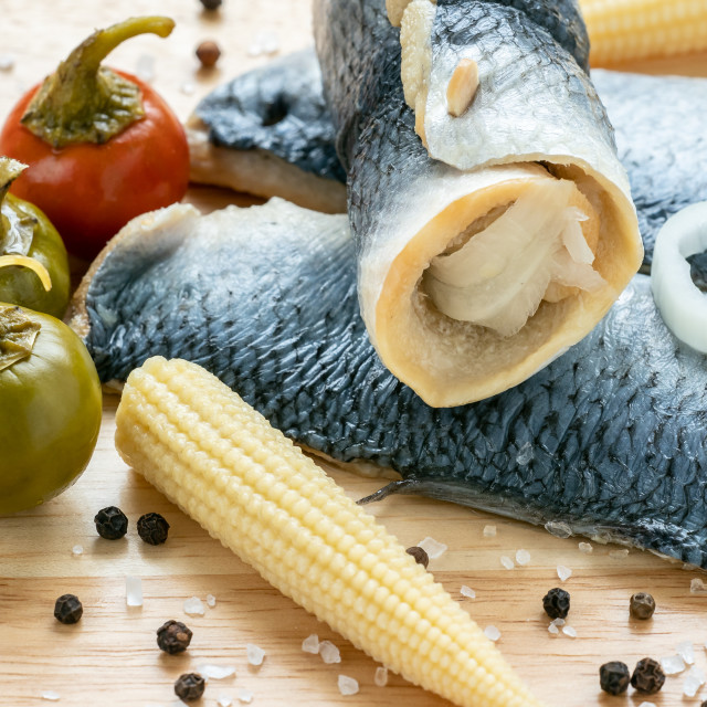 """Saltwater marinated fish, cold appetizer. Herring fillet marinat"" stock image"