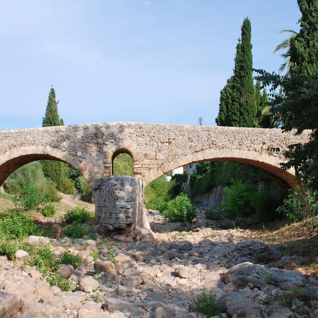 """Roman bridge, Pollenca"" stock image"